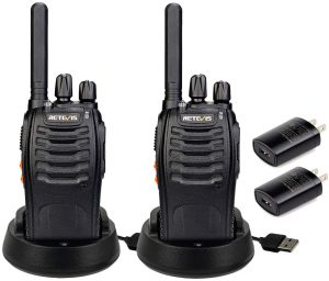 Retevis H-777 Two Way Radio Rechargeable 16CH 2 Way Radio Portable Outdoor Long Range Walkie Talkies with LED Flashlight Radios(Black, 2 Pack)